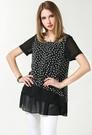 小中大尺碼圓領雪紡印花T恤棉長版寬鬆上衣  黑色 XL # sn3623 ❤卡樂store❤