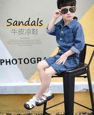 涼鞋男童涼鞋皮質新品正韓夏季包頭兒童沙灘鞋學生中大童男童鞋潮   提拉米蘇