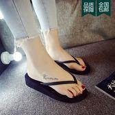 拖鞋 韓版黑色人字拖女夏時尚中高跟外穿坡跟防滑夾腳沙灘涼拖鞋潮 雲雨尚品