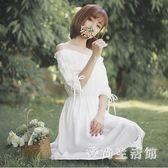 中大尺碼一字領洋裝 短袖小清新夏裝新款兩穿漏肩系帶收腰中長裙子 AW3377『愛尚生活館』