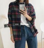 寬版經典格紋口袋襯衫 CC KOREA ~ Q21066