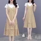 雪紡碎花吊帶洋裝女夏季2021新款小個子顯高兩件套裝裙子女夏天 小時光生活館