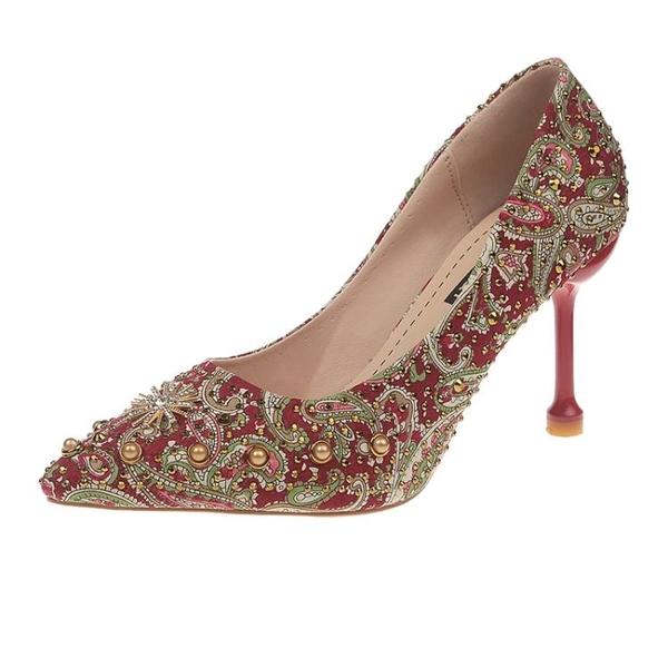 婚鞋女2020春季新款紅色高跟鞋細跟百搭網紅芥末新娘鞋結婚秀禾鞋 黛尼時尚精品