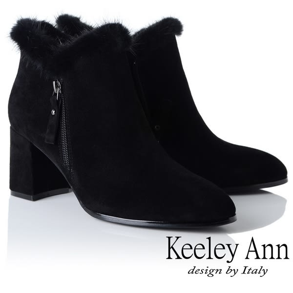 ★2018秋冬★Keeley Ann完美顯瘦~V型貂毛滾邊粗跟短靴(黑色)-Ann系列