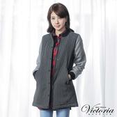 Victoria  毛呢異材質拼接長版外套-深灰直條-V3507486