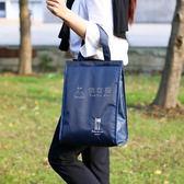 野餐袋 便當手提包大號保溫飯盒袋學生手拎袋小清新韓版帆布鋁箔 俏女孩