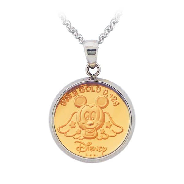 迪士尼系列金飾-黃金金幣項鍊-天使米奇款