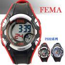 【僾瑪精品】FEMA 菲瑪 粗曠當兵系列計時鬧鈴 數位運動錶(黑紅-42mm) P332
