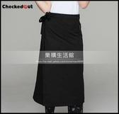 新品半身廚師圍裙黑色餐廳廚房服務員工作服圍腰定制LG-882310