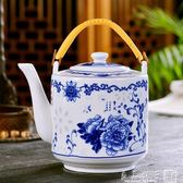 涼水壺陶瓷茶壺大號耐高溫大容量青花瓷冷水壺泡茶壺過濾防爆家用   良品鋪子