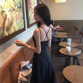 夏裝2020新款韓版赫本風小黑裙性感交叉露背吊帶連身裙女大擺長裙