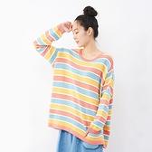 a la sha 彩色立體條紋造型袖針織上衣