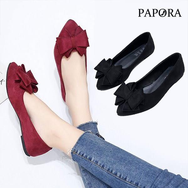 娃娃鞋.氣質絨面經典蝴蝶結平底娃娃鞋【KV2869】黑/紅(偏小)