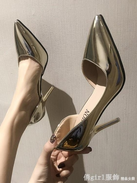 高跟鞋女2020新款黑色百搭尖頭淺口春季細跟性感工作鞋少女單鞋潮 元旦狂歡購