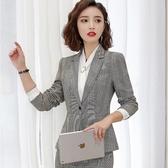 復古時尚格子單釦長袖西裝外套上班/休閒[9S199-PF]美之札