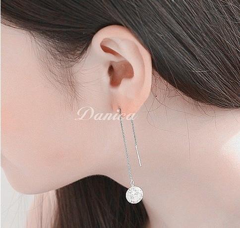 耳環 現貨 熱賣 專櫃CZ鑽 氣質 閃亮 流星 八心八箭 長耳環 S92236 Danica 韓系飾品 韓國連線