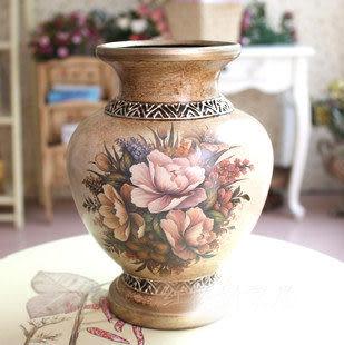 美式複古 陶瓷 圓花瓶 花插 花器 工藝品