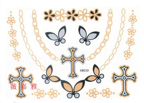 薇嘉雅 十字 項鍊 黃金白銀色歐美最新流型款紋身貼紙KW039