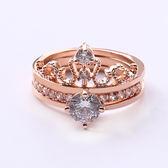 正韓簡約滿鑚排鑚兩件套皇冠王冠戒指鑚戒指環鋯石鑲嵌飾品免運直出 交換禮物