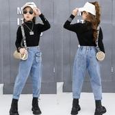 女童春秋外穿寬松牛仔褲2020新款秋裝韓版兒童洋氣長褲中大童褲子 美眉新品