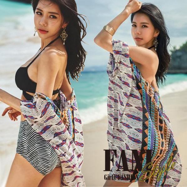 方妮FaNi❤【圖騰女神雪紡外套針織罩衫】海灘辣妹寬鬆洋裝沙灘裙