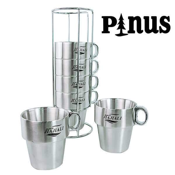 不鏽鋼咖啡套杯 ( 6入組 ) 1200025 (附收納架) 咖啡杯│茶杯│保溫杯│水杯 斷熱杯
