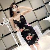 聖誕狂歡 裙子女夏2018新款時尚修身V領復古花朵收腰顯瘦吊帶包臀連身裙潮