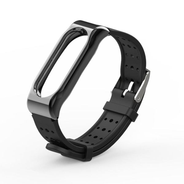 小米手環2腕帶金屬殼經典青春版二代替換帶磁吸金屬錶殼硅膠錶帶  遇見生活