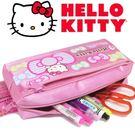 Hello kitty粉色雙拉鍊筆袋收納 化妝包 零錢包(正版)-艾發現