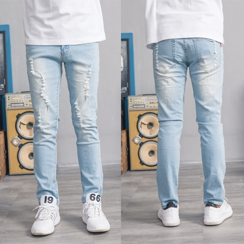 美式質感淺藍刷白牛仔褲