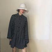 春季韓國寬鬆波點長袖襯衫連身裙百搭顯瘦