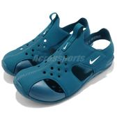 Nike 涼鞋 Sunray Protect 2 PS 藍 綠 運動鞋 魔鬼氈 小朋友 中童鞋【PUMP306】 943826-301