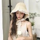 網紅草帽女夏蕾絲繫帶沙灘帽小清新海邊出遊度假防曬遮陽帽子綁帶 店慶降價