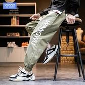 印花束腳哈倫褲胖子男士長褲寬鬆工裝褲子加肥加大碼休閒褲春秋季「艾瑞斯居家生活」