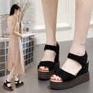 夏季超高跟涼鞋女厚底鬆糕跟魚嘴坡跟增高平底一字仙女鞋10cm【快速出貨】