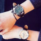 大錶盤韓版時尚簡約女表潮皮帶男表學生休閒情侶超薄防水石英手錶