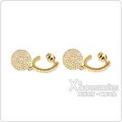 kate spade Shine On壓印LOGO垂墜圓形設計鑽鑲飾穿式耳環(金x白)