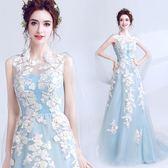 婚紗 仙美主義 背部設計時髦搶鏡藍色魚尾新娘婚紗禮服敬酒服10098igo coco衣巷