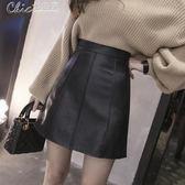 皮裙 小半身裙女夏高腰包臀裙子女一步裙a字裙百褶裙短裙「Chic七色堇」