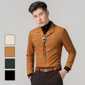 男 設計款/假兩件/長袖襯衫 L AME CHIC 假兩件麂皮絨長袖襯衫【FTLS091303】
