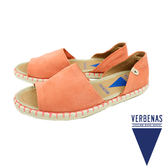 【VERBENAS】Carol牛皮絨面革露趾草編鞋/涼拖鞋 橘紅色(030067-OR)