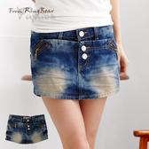褲裙--層次感鑽釦斜拉鍊裝飾設計纖細感牛仔褲裙(S-7L)-R107眼圈熊中大尺碼◎