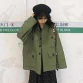 工裝外套女春季新款寬鬆學生韓版百搭顯瘦單排扣翻領夾克上衣