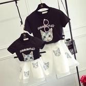 親子裝夏裝母女裝套裝 貓咪T恤 歐根紗半身裙女童套裝加大尺碼新款潮 雙十二8折