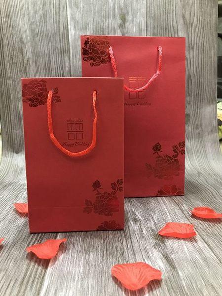 娃娃屋樂園~直式囍字提袋紙袋-B款紅卡燙紅(小) 10個200元/婚禮小物/聖誕節禮物/送禮包裝/禮品袋