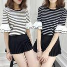 DE shop - 韓版百搭條紋短袖T恤 - T-9401