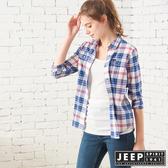 【JEEP】女裝 雙色格紋長袖襯衫 (藍格紋)