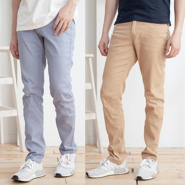 多色素面舒適休閒褲2色