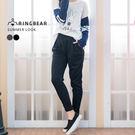鉛筆褲--休閒歐美風格鬆緊腰間裝飾車褶雙口袋純棉窄管褲/鉛筆褲(黑.灰XL-4L)-P127眼圈熊中大尺碼