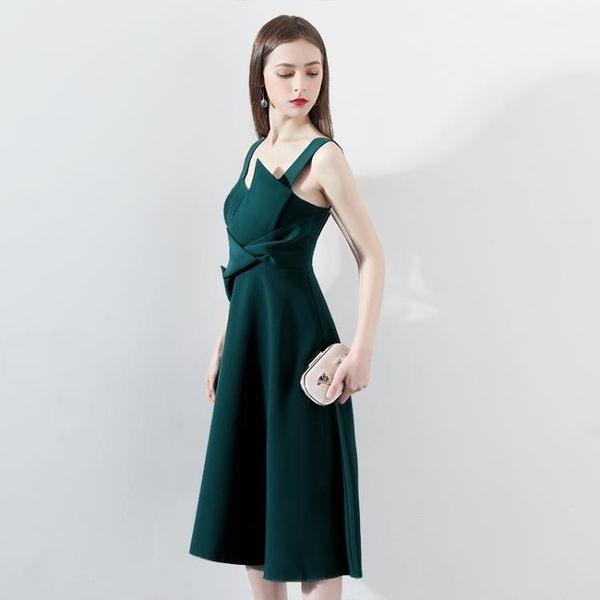宴會小晚禮服裙女2018新款名媛生日派對連身裙洋裝綠色吊帶中長款